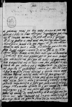 Catarina Garcia de Cabreira, 1592. Private letter, ANTT/PS, TSO-IL, 1476 / Projeto P.S. PSCR1143. MAP Catalog Code: [0142]. Image source: ANTT / PS: http://ps.clul.ul.pt/pt/index.php?action=file&cid=xmlfiles/Revistas/ModernizadasTeitok/neotag_PT/PSCR1143.xml